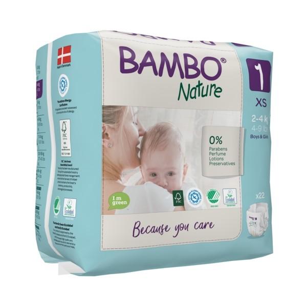 Couches T1 nouveau-né 2-4Kg - Bambo Nature
